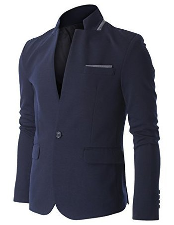 FLATSEVEN Mens Casual 2 Tone Stand Up Collar One Button Single Blazer Jacket (BJ304) Navy, L FLATSEVE
