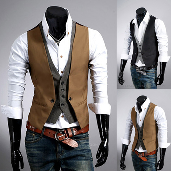 2015 New Fashion Plaid Pattern Men's Slim Vest Faux Two Piece Male Slim Vest Men Cotton Clothing Outerwear in Stock-inVests & Waistcoats from Men's Clothing & Accessories on Aliexpress.com | Alibaba Group