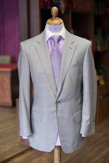 grey suit lavender tie