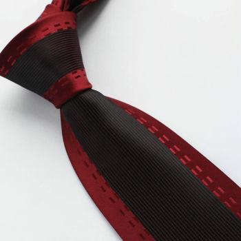 YIBEI Ties Red Bordered With Black Stripes Woven Necktie Formal Men's Neck Tie #COACHELLA #NeckTie