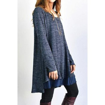Stylish Long Sleeve Scoop Neck Dress + Voile Skirt Suit