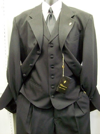 Falcone Mens Black Bart Vested  Zoot Suits 3150-000