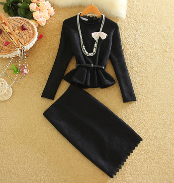 2 Piece Set Women 2016 Spring Lace Top and Skirt Lady Black White Gary Suit Set-in Women's Sets from Women's Clothing & Accessories on Aliexpress.com   Alibaba Group