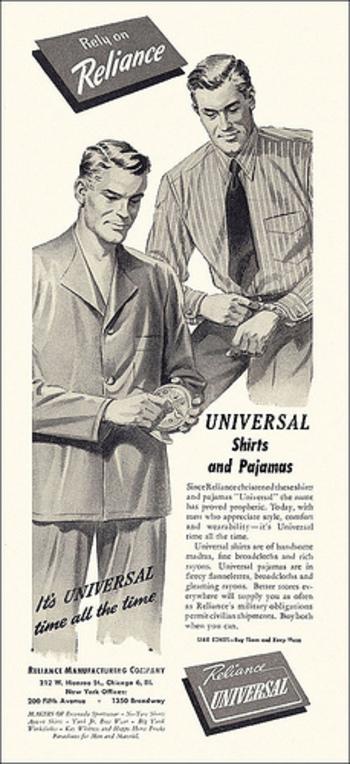 Reliance Menswear ad, c. 1943.