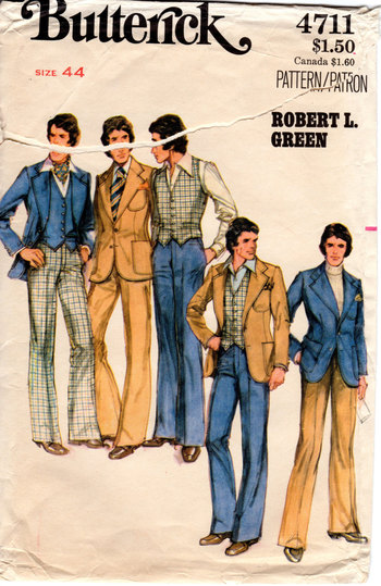 1970s Mens 3 Piece Suit Pattern - Vintage Butterick 4711 - Size 44 Vest Pants Jacket