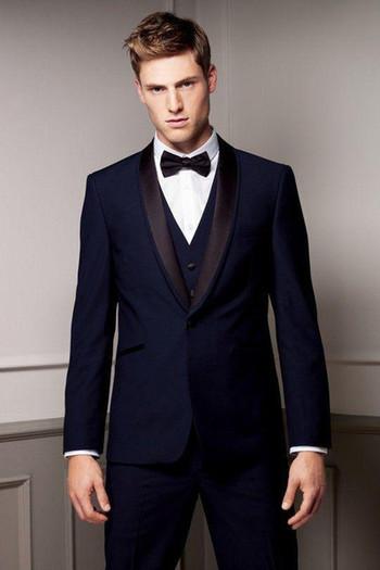 Custom Made New Style Groom Tuxedos Shawl Lapel Men's Suit Navy Blue Groomsman/Bridegroom Wedding/Prom Suits (Jacket+Pants+Tie+Vest) J798