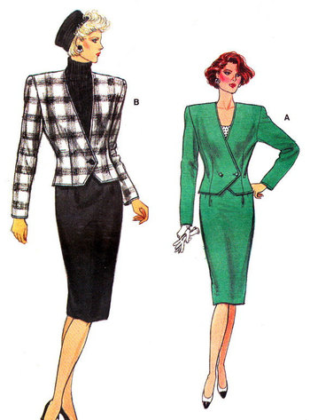 1980s Suit Pattern Vogue 9658 Womens Power