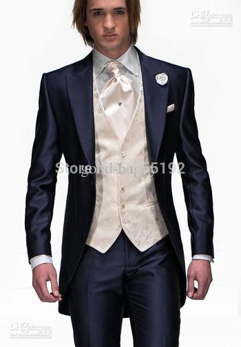 HOT -- Peak Lapel Royal Blue Haut Tailcoat Slim Fit Groom Tuxedos Men's Wedding Dress Prom Clothing(Jacket+pants+tie+vest)8134