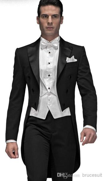 Tux Tail  2014 Customize Elegant Bridegrom Black Tailcoat /Wedding Tuxedo For Men/Groomwear Suits SetJacket+Bowtie+Vest+PantsCm 7222 Fashion Suits For Men From Brucesuit, $161.5| Dhgate.Com