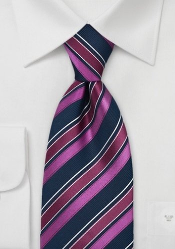Striped Tie in Navy and Sangria