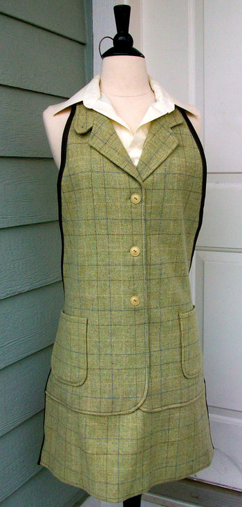 Men's Apron UpCycled from Suit Jacket Green by DrapesofWrath, $50.00