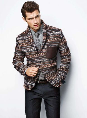 Sean O'Pry—interesting patterns on the blazer.
