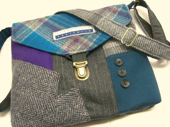 Wool purse, Recycled purse, Crossbody Purse, blue purple gray plaid wool, mens suit coat, Eco Friendl