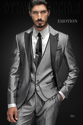 Wedding Suit for groom in light Grey Viscose Blend
