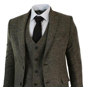 Mens Brown 3 Piece Herringbone Tweed Suit Vintage Retro Slim Fit Smart Formal