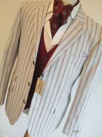 "MADDOCK STREET mens BEIGE VERTICAL STRIPE BOATING COLLEGE BLAZER JACKET 46"" NEW"