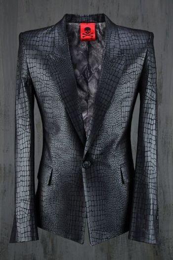 Best Men's Punk & Avant Garde Fashion Croc-Pattern Peaked-Lapel Suit Blazer by Virgin Blak