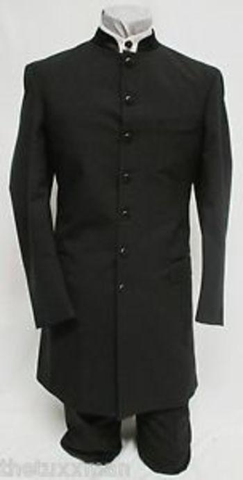 39 R Mens Black 'Apollo' Nehru/Mandarin Long Tuxedo Jacket Frock Coat Wedding