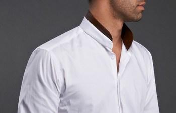 White Shirt Mandarin Collar Simili Leather, Waisted-fit - #frenchflair $86.90