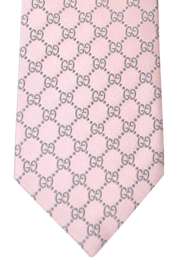 Gucci Tie Pink Gray GG Pattern - New Collection