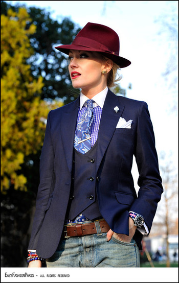 I would probably do either the vest OR the jacket, and wouldn't do the hat, but I love this combinati