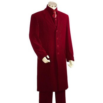 SKU#HS7123 Mens Red 3 Piece Fashion Zoot Suit Shirt Tie Vest Package $225