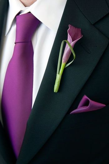 Purple Wedding Boutonnieres. Love this calla lily