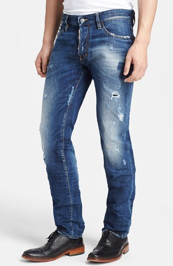 $590, Blue Ripped Jeans: Dsquared2 Slim Fit Distressed Jeans