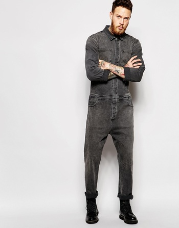 ASOS Boiler Suit In Denim Washed Black at asos.com