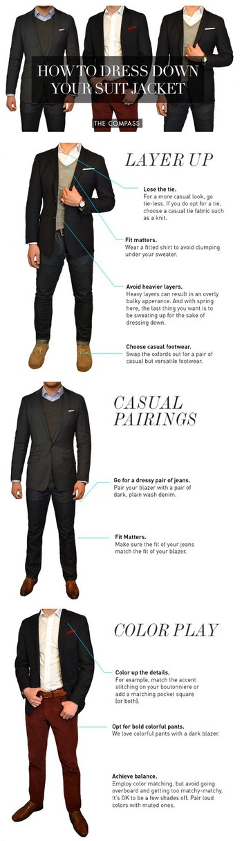 How to Dress Down Your Suit Jacket #style #fashion This Pin re-pinned by www.avacationrental4me.com
