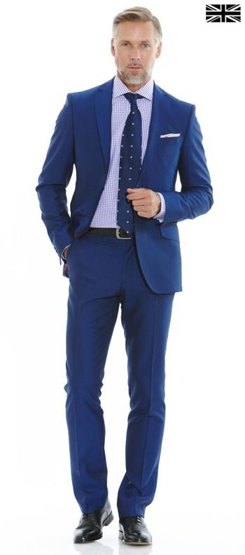 Bright Blue Slim Fit Suit  - Suits