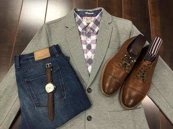 Brown shoes with Gray blazer