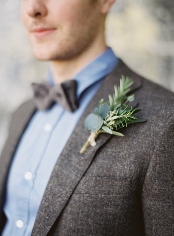 eucalyptus and herb boutonniere, photo by Paula O'Hara, styling by Alise Taggart http://ruffledblog.c