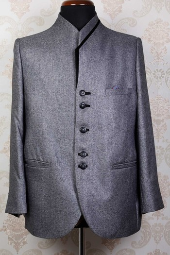 Grey linen  radiant prince fit suit with wilton collar -ST446