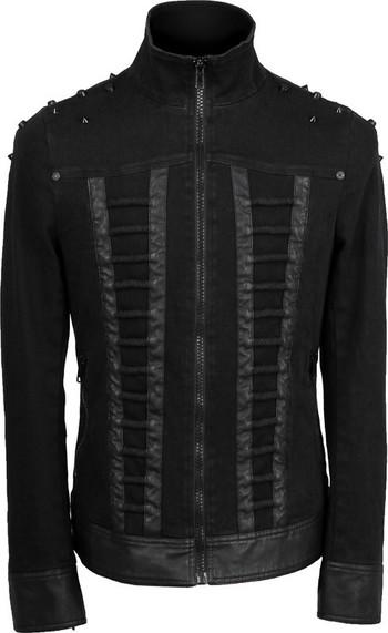Men's black denim zipper jacket with studs, by Punk Rave