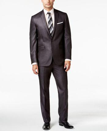 Kenneth Cole Reaction Charcoal Basketweave Slim-Fit Suit - Suits & Suit Separates - Men - Macy's