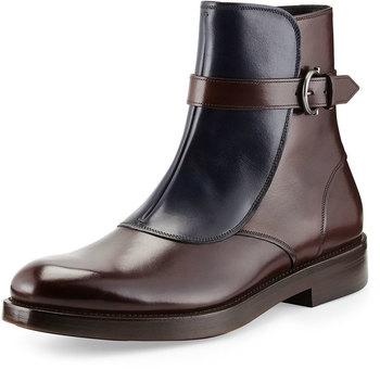 Salvatore Ferragamo Power Runway Boot, Chocolate/Navy, Salvatore Ferragamo smooth leather boot.