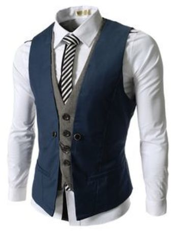 Blue Slim Layered Suit Vests for Men