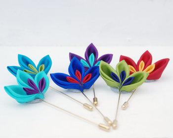Custom Colour Lapel Pin - Wedding Bouttoniere - Men's Buttonhole-  - Choose Colours - Groomsmens Accessory - Grooms Lapel Pin Flower -