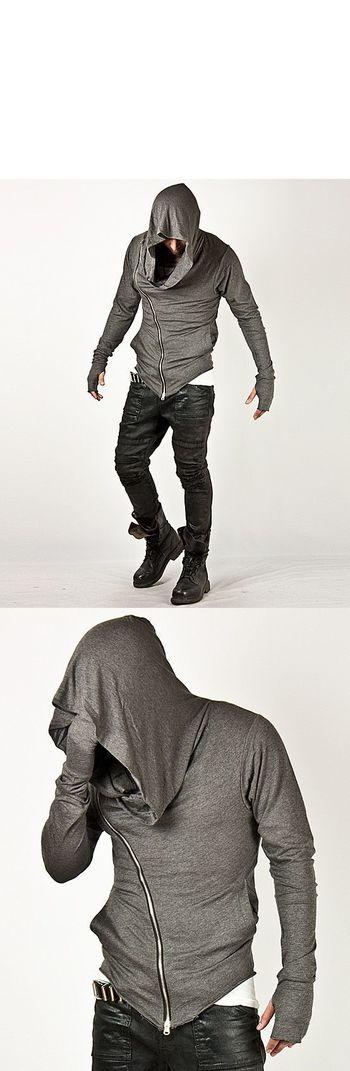 Unbeatable Arm Warmer Diagonal Zip Mens Assassin Creed Hoodie (Charcoal)