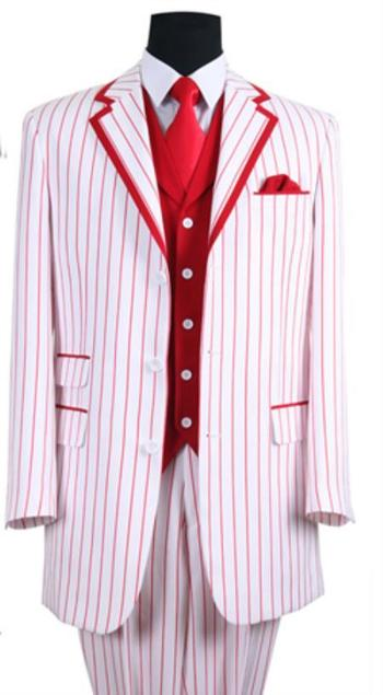 SKU#PN-P65 Mens 3 Button Single Breasted 35 Inch White/Red S