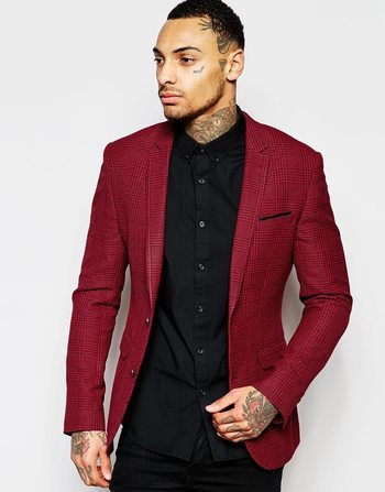 ASOS Superskinny Blazer In Check In Red at asos.com