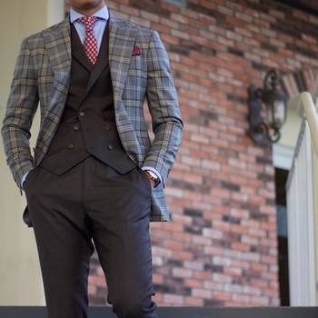 "Teaching Men's Fashion on Instagram: ""My favorite way to break up a 3 piece suit is keep the vest and the trousers and throw on a contrasting sport coat #menswear  Suit…"""
