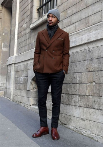 casual beanie w/ double breasted blazer and plaid trousers menstyle menswear lifestyle men fashion bo