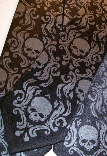 Black necktie, black pearl skull damask skull tie - available in 59 necktie colors