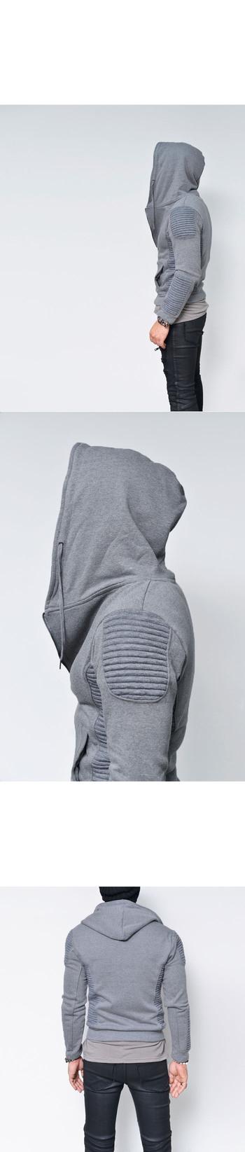 Outerwear :: Jackets :: Embossed Seaming Hooded Jersey Biker Jacket-Hoodie 128