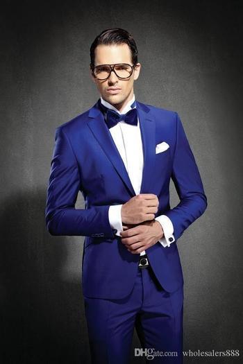 Newest Slim Fit Groom Tuxedos Royal Blue Best man Suit Notch Lapel Groomsman Men Wedding Suits Bridegroom(Jacket+Pants+Tie+Girdle)J692