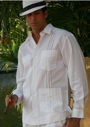 Guayabera Style Long Sleeve for Men Transparent
