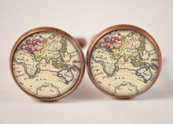 16mm Cuff LInks, Vintage World Map Cufflinks, Resin Cuff Links, Mens Accessories, Cufflinks C337