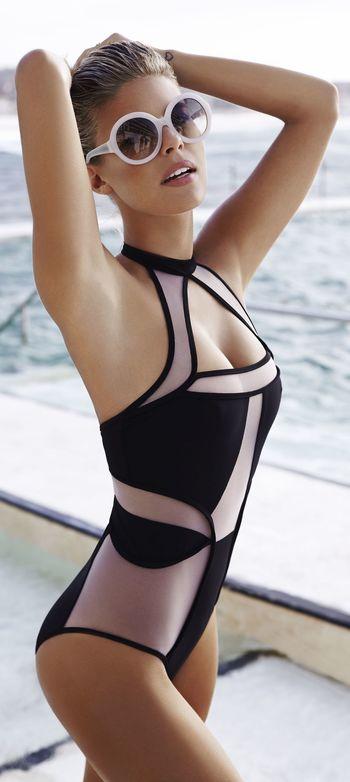 Black Sheer Detail Halter Monokini